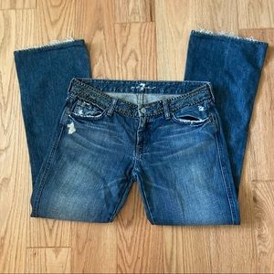 7 For All Mankind Havana Distressed Studded Jeans